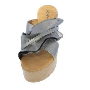 Metallic Gray Cross Strap Open Toe Mule